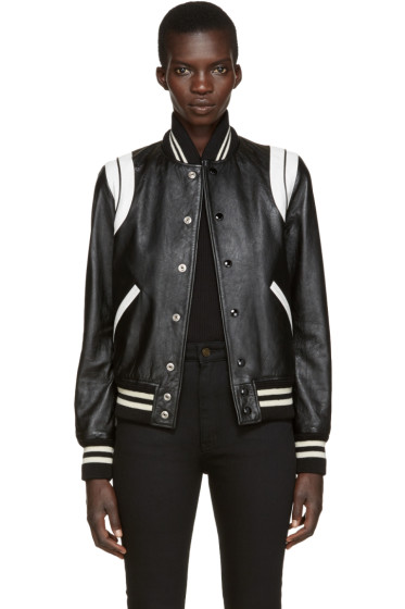 Saint Laurent - Black Leather Teddy Jacket