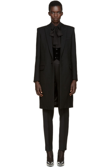 Saint Laurent - Black Wool 80s Coat