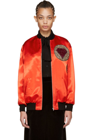 Saint Laurent - Red Boule Teddy Bomber Jacket