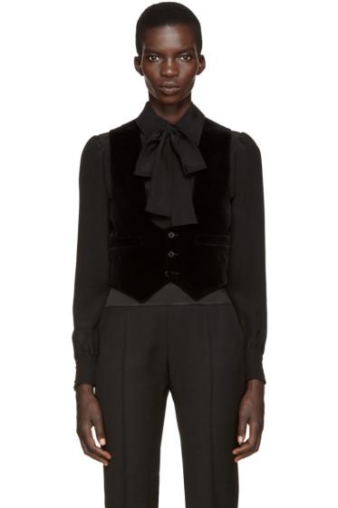 Saint Laurent - Black Velvet Waistcoat