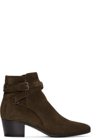 Saint Laurent - Brown Suede Blake Boots
