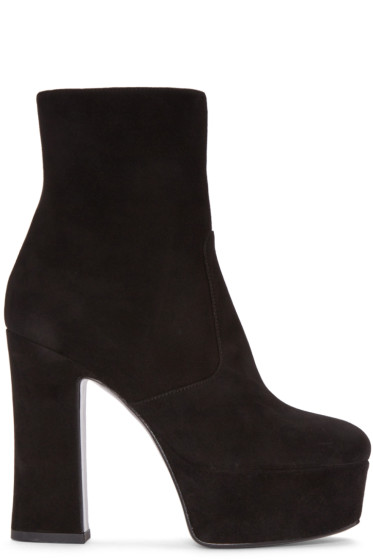 Saint Laurent - Black Suede Platform Candy Boots