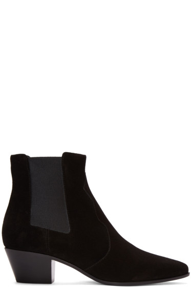 Saint Laurent - Black Suede Rock Boots