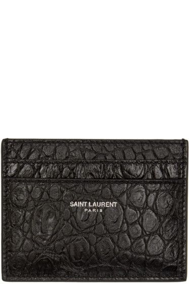 Saint Laurent - Black Croc-Embossed Card Holder