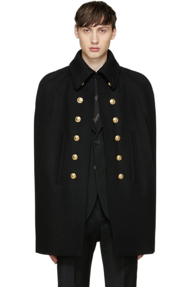 Saint Laurent - Black Wool Officer Cape