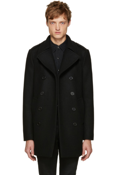 Saint Laurent - Black Long Wool Peacoat