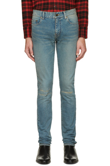 Saint Laurent - Blue Original Low Waisted Knee Patch Skinny Jeans