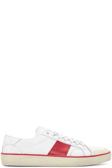 Saint Laurent - White Distressed Court Classic Sneakers