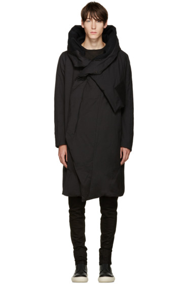 Julius - Black Down Wrap Collar Coat