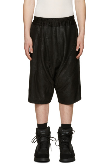 Julius - Black Lambskin Textured Shorts