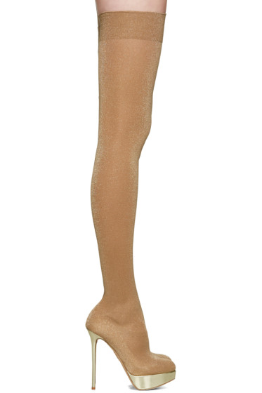 Charlotte Olympia - Beige More is More Over-the-Knee Boots