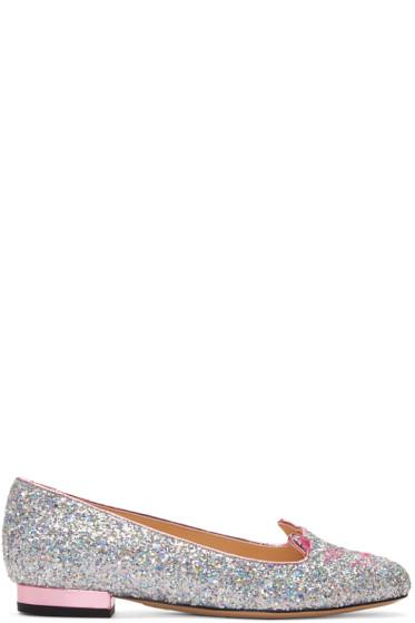 Charlotte Olympia - Silver Glitter Metallic Kitty Flats