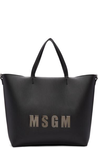 MSGM - Black Logo Shopper Tote