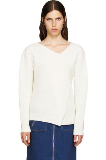 MSGM - White Wool Angular Sweater