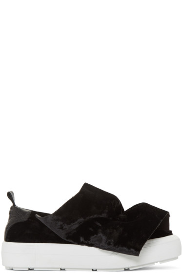 MSGM - Black Velvet Ruched Slip-On Sneakers