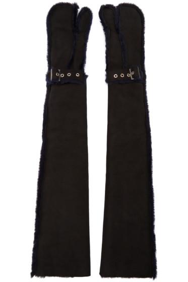Sacai - Black Long Lux Shearling Gloves