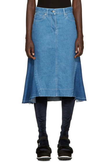 Sacai - Blue Flared Denim Skirt