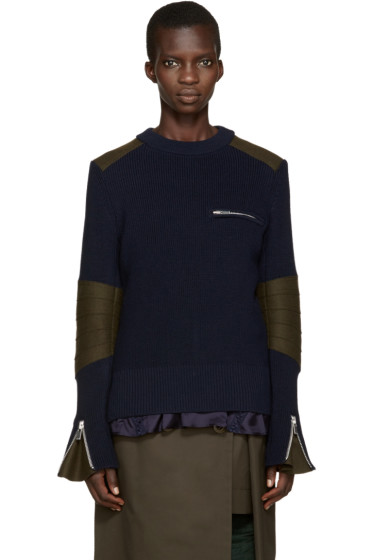 Sacai - Blue Layered Sweater