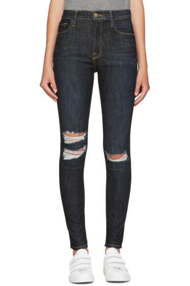 Frame Denim - Navy Ali High-Rise Skinny Jeans