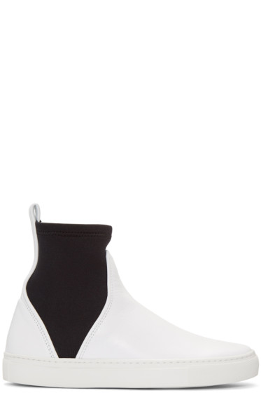 Cédric Charlier - White Leather High-Top Sneakers