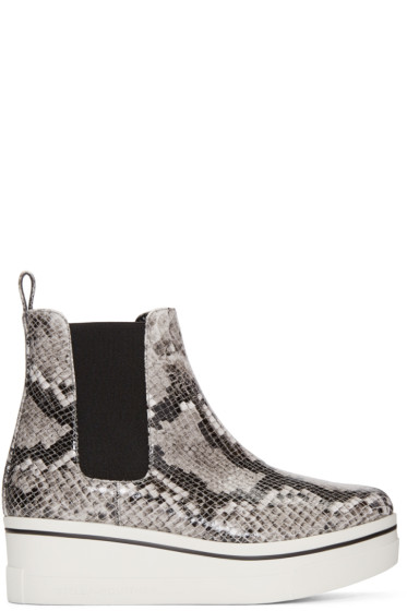 Stella McCartney - Grey Snake-Embossed Binx Boots