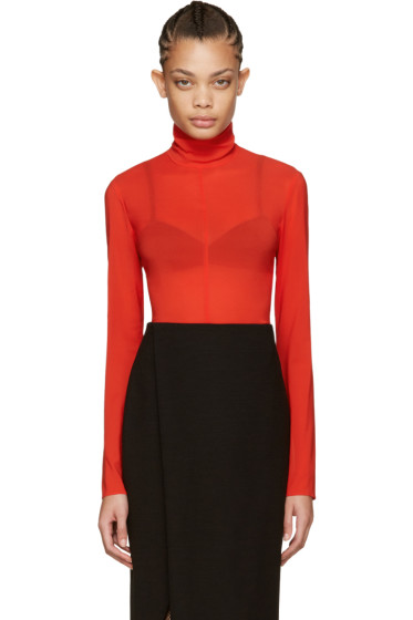 Nina Ricci - Red Silk Turtleneck Bodysuit
