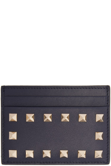 Valentino - Navy Rockstud Card Holder