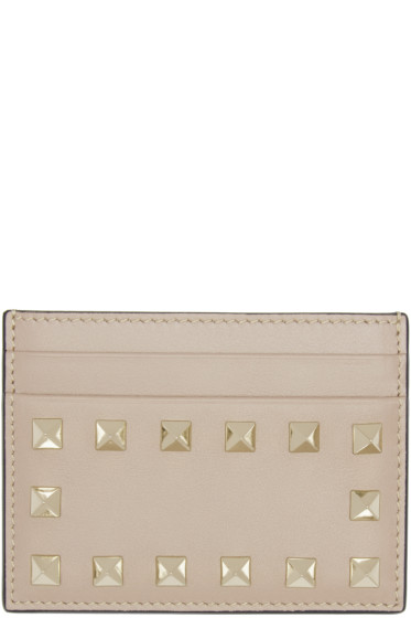 Valentino - Taupe Rockstud Card Holder