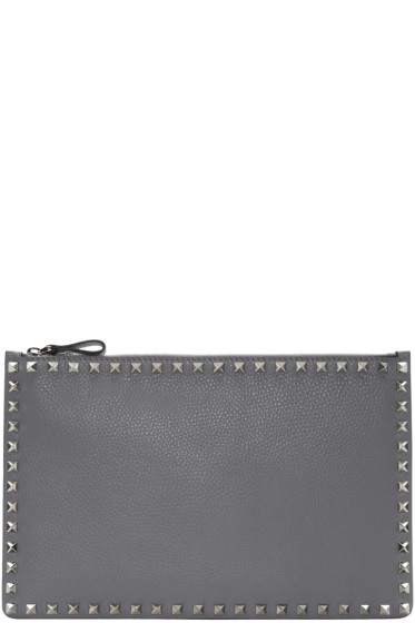 Valentino - Grey Leather Rockstud Pouch