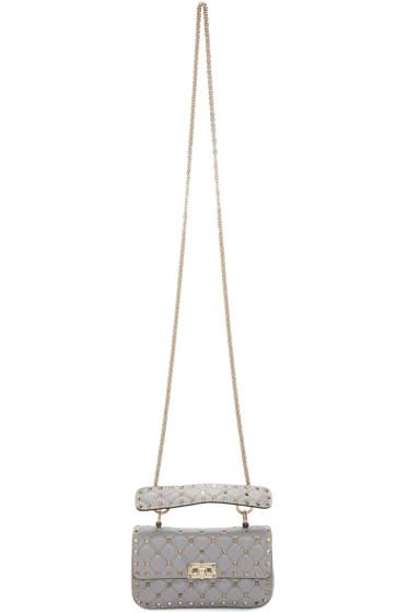 Valentino - Grey Small Rockstud Matelasse Bag