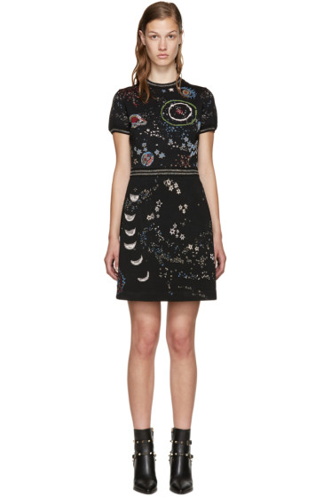 Valentino - Black Jacquard Astro Dress