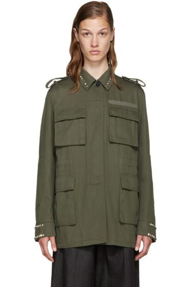 Valentino - Green Twill Rockstud Untitled Jacket