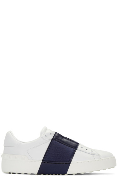 Valentino - White & Navy Open Sneakers