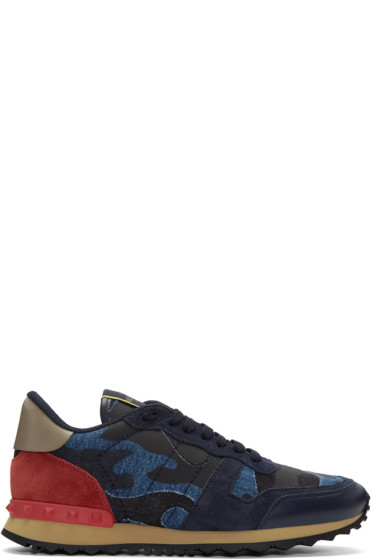 Valentino - Blue Camo Rockrunner Sneakers