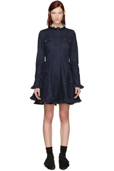 J.W.Anderson - Indigo Ruffled Skater Dress