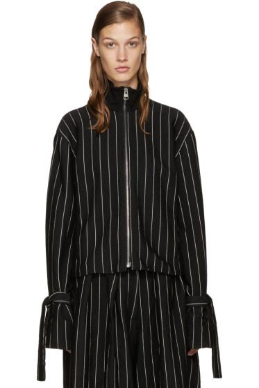 J.W.Anderson - Black Pinstripe Straps Jacket