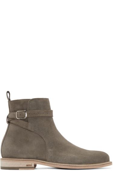 AMI Alexandre Mattiussi - SSENSE Exclusive Taupe Suede Buckle Boots