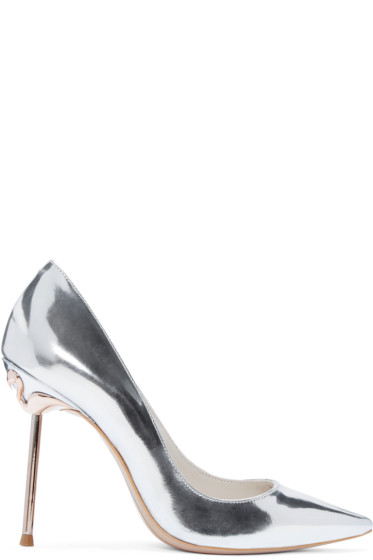 Sophia Webster - Silver Coco Flamingo Heels
