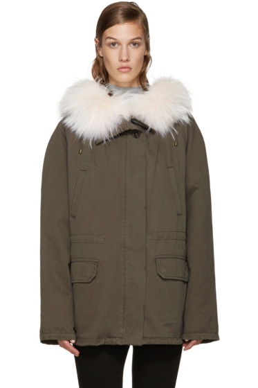 Army by Yves Salomon - Green Short Classic Parka