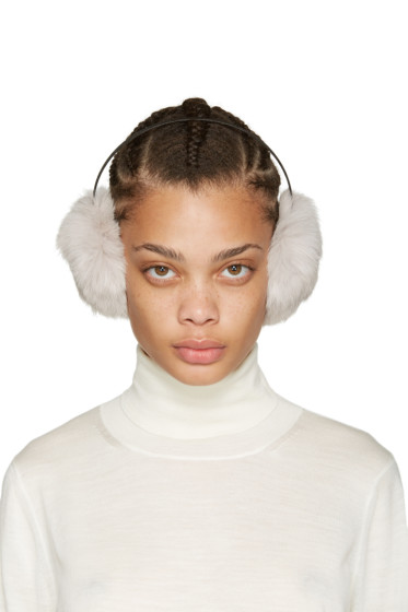 Yves Salomon - Grey Fur Earmuffs