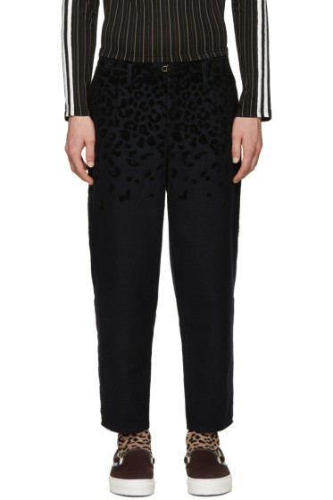 Kolor - Navy Textured Mix Trousers