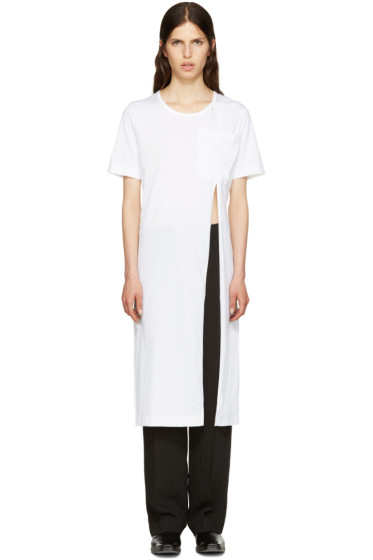 Facetasm - White Slit T-Shirt Dress