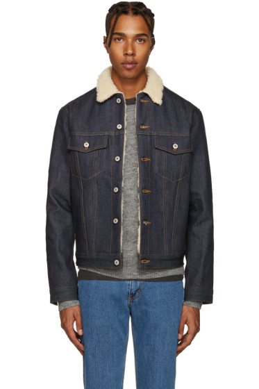Naked & Famous Denim - Indigo Denim Sherpa Jacket