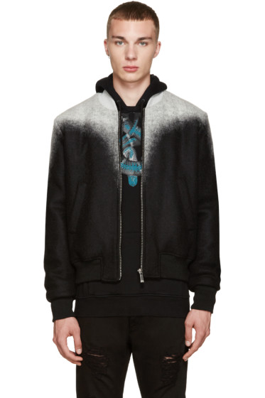 Marcelo Burlon County of Milan - Black & Grey Zapaleri Bomber Jacket