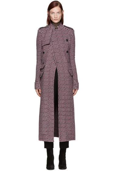 Haider Ackermann - Pink Houndstooth Double-Breasted Coat