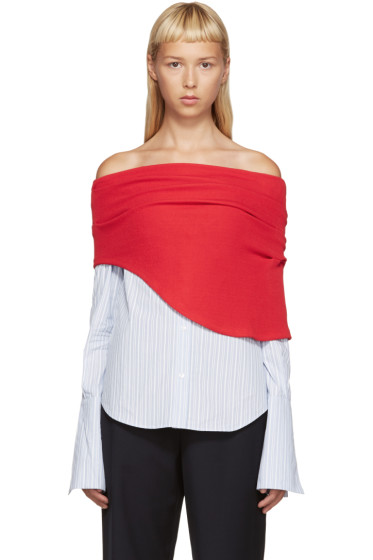 Jacquemus - Red & Blue Polo Off-the-Shoulder Shirt
