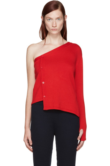 Jacquemus - Red Single-Shoulder Cardigan