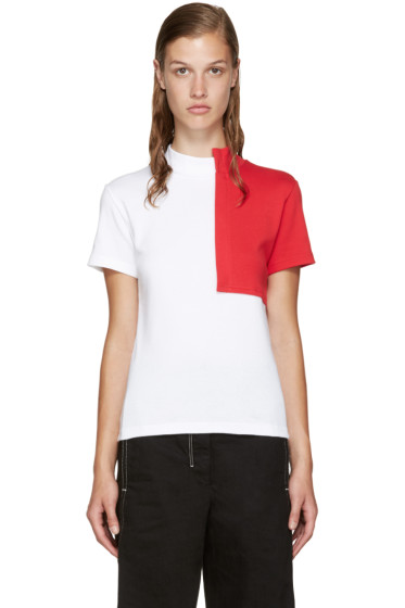 Jacquemus - White & Red Square Collar T-Shirt