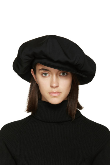 Yohji Yamamoto - Black Oversized Bowie Newsboy Cap