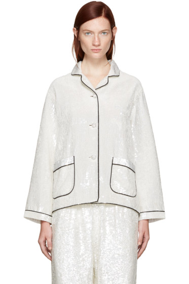 Ashish - SSENSE Exclusive Ivory Sequin Pyjama Shirt